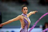 Almudena Cid of Spain turns with ribbon during All Around final at  2008 European Championships at Torino, Italy on June 6, 2008.  Photo by Tom Theobald.