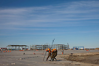 Yamal Peninsula, Russia, 08/07/2010..Construction work on a new airport runway at the Gazprom Yamal Bovanenkovo gasfield project.