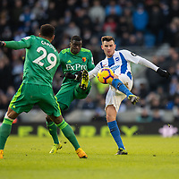 Watford's Ken Sema (left) battles with Brighton & Hove Albion's Pascal Gross (right) <br /> <br /> Photographer David Horton/CameraSport<br /> <br /> The Premier League - Brighton and Hove Albion v Watford - Saturday 2nd February 2019 - The Amex Stadium - Brighton<br /> <br /> World Copyright © 2019 CameraSport. All rights reserved. 43 Linden Ave. Countesthorpe. Leicester. England. LE8 5PG - Tel: +44 (0) 116 277 4147 - admin@camerasport.com - www.camerasport.com
