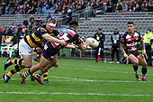 Jonathan Taumateine gets the ball away to an unmarked Etene Nanai-Seturo. Mitre 10 Cup rugby game between Counties Manukau Steelers and Taranaki Bulls, played at Navigation Homes Stadium, Pukekohe on Saturday August 10th 2019. Taranaki won the game 34 - 29 after leading 29 - 19 at halftime.<br /> Photo by Richard Spranger.