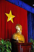 Bust of Ho Chi Minh, with Vietnamese Star. Reunification Palace, Ho Chi Minh City (Saigon), Vietnam
