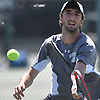 Yuval Solomon of Plainview JFK moves to the net to return a volley from Peter Siozios of New Hyde Park (not in picture) in the Nassau County varsity boys tennis singles final at Oceanside High School on Sunday, May 21, 2017. Solomon, the reigning New York State champion, won the match 6-0, 6-0 to claim the county singles title.