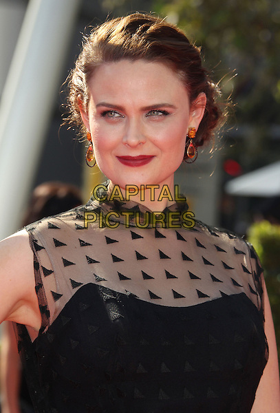 Emily Deschanel.2012 Creative Arts Emmy Awards at Nokia Theatre L.A. Live, Los Angeles, California USA..15 September 2012.headshot portrait black sleeveless sheer red lipstick gold earrings emmys.CAP/ADM/RE.©Russ Elliot/AdMedia/Capital Pictures.