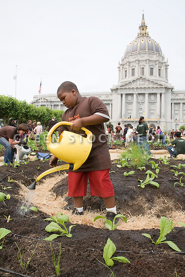 "Rosevelt Curry waters plants during Community Planting Day (July 12, 2008) of the Slow Food Nation Victory Garden at San Francisco's Civic Center. The garden project ""demonstrates the potential of a truly local agriculture practice that unites and promotes Bay Area urban gardening organizations, while producing high quality food for those in need.""* The garden is planted on the same site as the post-World War II garden sixty years ago. The food will be grown over a period of two months, harvested, and donated to people in need..*slowfoodnation.org"