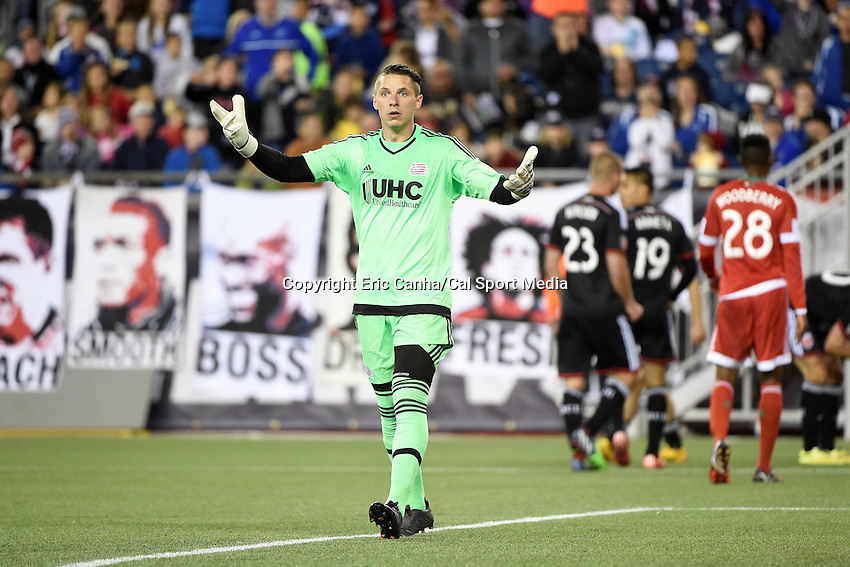 May 23, 2015 - Foxborough, Massachusetts, U.S. - New England Revolution goalkeeper Bobby Shuttleworth (22) signals to officials during the MLS game between DC United and the New England Revolution held at Gillette Stadium in Foxborough Massachusetts. The New England Revolution and D.C. United ended the game tied 1-1.  Eric Canha/CSM