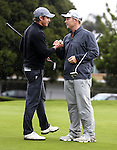 Brad Shilton congratulates Kieran Muir as Muir wins the Barfoot and Thompson Charles Tour, Akarana Open, Akarana Golf Club, Auckland, Sunday 17  April 2016. Photo: Simon Watts/www.bwmedia.co.nz
