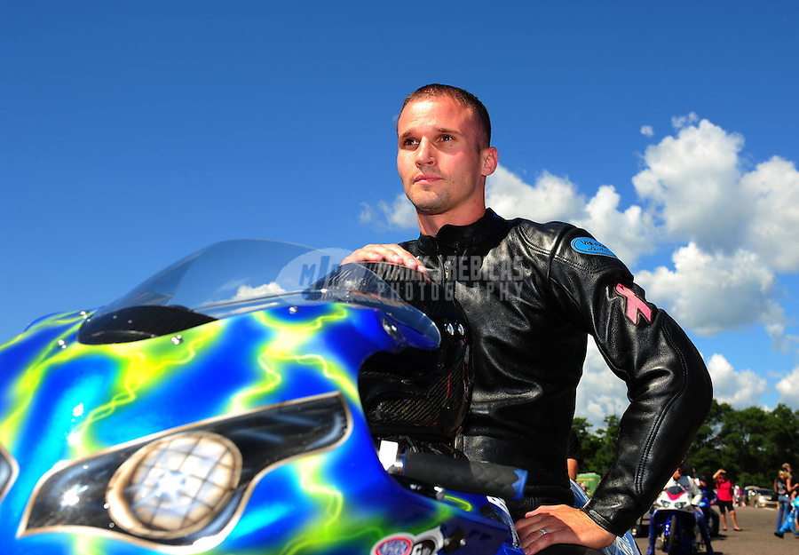 Aug. 21, 2011; Brainerd, MN, USA: NHRA pro stock motorcycle rider David Hope during the Lucas Oil Nationals at Brainerd International Raceway. Mandatory Credit: Mark J. Rebilas-