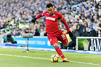 Martin Olsson of Swansea City takes a cross during the Premier League match between Brighton and Hove Albion and Swansea City and at the Amex Stadium, Brighton, England, UK. Saturday 24 February 2018