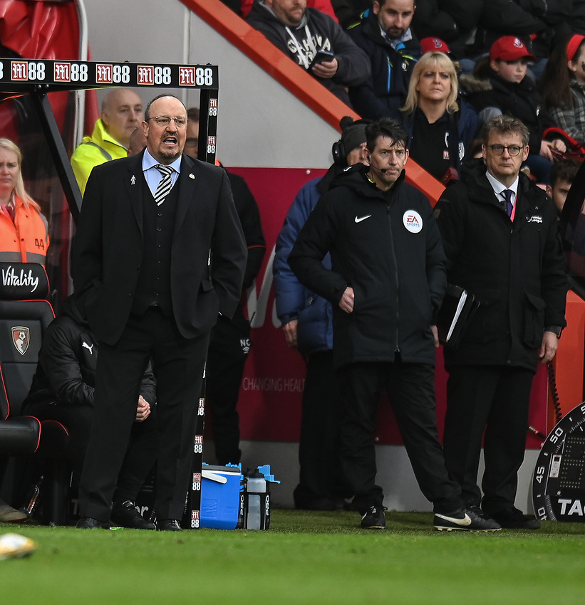 Newcastle United manager Rafa Benítez  (left)  <br /> <br /> Photographer David Horton/CameraSport<br /> <br /> The Premier League - Bournemouth v Newcastle United - Saturday 16th March 2019 - Vitality Stadium - Bournemouth<br /> <br /> World Copyright © 2019 CameraSport. All rights reserved. 43 Linden Ave. Countesthorpe. Leicester. England. LE8 5PG - Tel: +44 (0) 116 277 4147 - admin@camerasport.com - www.camerasport.com