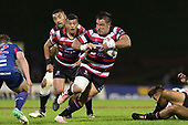 Joseph Royal looks to avoid Alex Nankivell as he makes a run from a ruck. Mitre 10 Cup game between Counties Manukau Steelers and Tasman Mako's, played at ECOLight Stadium Pukekohe on Saturday October 14th 2017. Counties Manukau won the game 52 - 30 after trailing 22 - 19 at halftime. <br /> Photo by Richard Spranger.