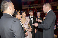 10 February 2-19 - Prince William Duke of Cambridge meets the team behind the film Free Solo, Elizabeth Chai Vasarhelyi, Jimmy Chin, Shannon Dill and Evan Hayes  at the EE Bafta British Academy Film Awards 2019 at The Royal Albert Hall in London. Photo Credit: ALPR/AdMedia