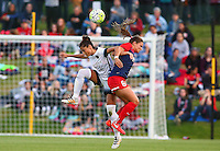 Boyds, MD - Saturday May 07, 2016: Portland Thorns FC forward Nadia Nadim (9) clashes with Washington Spirit defender Shelina Zardorsky (6) during a regular season National Women's Soccer League (NWSL) match at Maureen Hendricks Field, Maryland SoccerPlex. Washington Spirit tied the Portland Thorns 0-0.