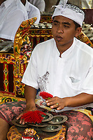 Jatiluwih, Bali, Indonesia.  Musician Playing Cymbals (Ceng ceng, or cheng cheng) in a Gamelan Orchestra,  Luhur Bhujangga Waisnawa Hindu Temple.  Ceng ceng are traditionally mounted on the back of a wooden sculpture representing a turtle, as in this image.