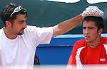 Tennis, Davis Cup<br /> Serbia Vs. Bulgaria<br /> Janko Tipsarevic, right and Nenad Zimonjic<br /> BGD, 07.11.2003.<br /> FOTO: Srdjan Stevanovic