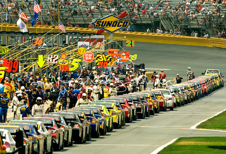 A view down pit row at the Lowe's Motor Speedway, in Concord, NC, during the 2009 Coca-Cola Classic 600 NASCAR race. Driver David Reutimann won his first Cup race during the rain-shortened event, held May 25, 2009. NASCAR's longest scheduled race went only 227 laps, or 340.5 miles, before officials ended it because of rain. The 2009 race was the 50th running of the Coca-Cola 600. Ryan Newman and Robby Gordon finished second and third respectively.