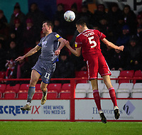 Lincoln City's Tom Hopper vies for possession with Accrington Stanley's Ross Sykes<br /> <br /> Photographer Andrew Vaughan/CameraSport<br /> <br /> The EFL Sky Bet League One - Accrington Stanley v Lincoln City - Saturday 15th February 2020 - Crown Ground - Accrington<br /> <br /> World Copyright © 2020 CameraSport. All rights reserved. 43 Linden Ave. Countesthorpe. Leicester. England. LE8 5PG - Tel: +44 (0) 116 277 4147 - admin@camerasport.com - www.camerasport.com