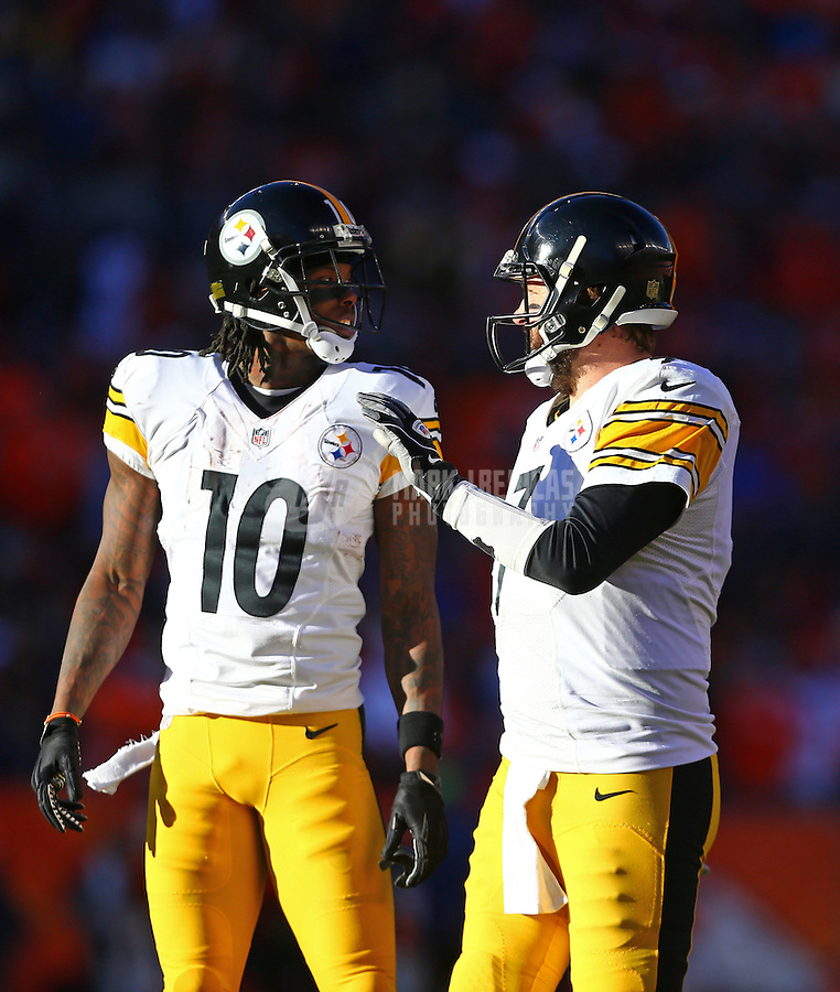 Jan 17, 2016; Denver, CO, USA; Pittsburgh Steelers wide receiver Martavis Bryant (10) and quarterback Ben Roethlisberger (7) against the Denver Broncos during the AFC Divisional round playoff game at Sports Authority Field at Mile High. Mandatory Credit: Mark J. Rebilas-USA TODAY Sports