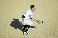 Wake Forest Demon Deacons third baseman Chris Lanzilli (24) on defense against the Louisville Cardinals at David F. Couch Ballpark on March 7, 2020 in  Winston-Salem, North Carolina. The Demon Deacons defeated the Cardinals 3-2. (Brian Westerholt/Four Seam Images)
