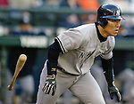 New York Yankees' Hideki Matsui tosses his bat after hitting a single to right field against the Seattle Marines' in the second inning of their American league game at Safeco Field in Seattle, Washington on Tuesday, 17 May 2005..ALL RIGHTS RESERVED. Jim Bryant Photo. ©2010. All Rights Reserved