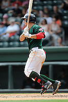 Outfielder Nick Longhi (21) of the Greenville Drive bats in a game against the Rome Braves on Sunday, June 14, 2015, at Fluor Field at the West End in Greenville, South Carolina. Longhi is the No. 27 prospect of the Boston Red Sox, according to Baseball America. (Tom Priddy/Four Seam Images)