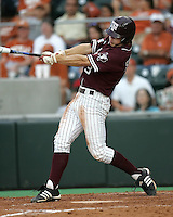 Texas A&M 2B Blake Stouffer bats against Texas on May 16th, 2008 in Austin Texas. Photo by Andrew Woolley / Four Seam images..