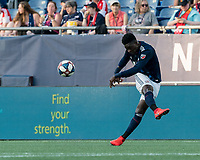 FOXBOROUGH, MA - JUNE 26: Jalil Anibaba #3 passes the ball during a game between Philadelphia Union and New England Revolution at Gillette Stadium on June 26, 2019 in Foxborough, Massachusetts.