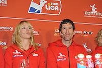 SCHAATSEN: AMSTELVEEN: 15-10-2013, De Jonge Dikkert, Perspresentatie Team LIGA, Marianne Timmer (trainer/coach), Gianni Romme (trainer/coach), ©foto Martin de Jong
