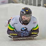 9 January 2016: John Farrow, competing for Australia, crosses the finish line on his second run of the day during the BMW IBSF World Cup Skeleton Championships at the Olympic Sports Track in Lake Placid, New York, USA. Farrow ended the day with a combined 2-run time of 1:51.43 and a 17th place overall finish. Mandatory Credit: Ed Wolfstein Photo *** RAW (NEF) Image File Available ***