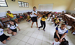 School children practice a play that recalls their troubled history in the Escola Sao Joao in Quilombo Tiningu, near Santarem, Brazil. Quilombos are Brazilian hinterland settlements founded by people of African origin, mostly slaves.