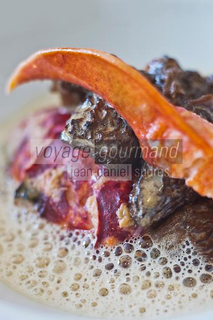 Europe/France/Bretagne/35/Ille et Vilaine/Rennes: Homard aux morilles et vin jaune recette de Pierre Legrand, chef de l' Hôtel-Restaurant: Lecoq-Gadby
