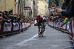 Fabio Felline (ITA) Trek-Segafredo on the final brutal climb of Via Santa Caterina in Siena during the 2017 Strade Bianche running 175km from Siena to Siena, Tuscany, Italy 4th March 2017.<br /> Picture: Eoin Clarke | Newsfile<br /> <br /> <br /> All photos usage must carry mandatory copyright credit (&copy; Newsfile | Eoin Clarke)
