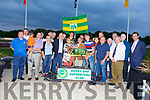 Kay and Jim Murphy from Killmallock, Co Limerick accepting the winners Cup from Donie O'Leary for the Kerry Supporters sponsored race at the Night of Champions in the Kingdom Greyhound Track on Friday night.