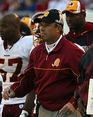 Washington Redskins defensive coordinator Gregg Williams watches the action from the sidelines in the game against the New York Giants at Giants Stadium in East Rutherford, New Jersey on Sunday, November 30, 2005.  The Redskins lost the game 36 - 0.  On March 21, 2012 Williams admitted to being involved with paying bounties for causing injuries to opponents while serving as defensive coordinator for the New Orleans Saints.  Williams was suspended from the NFL indefinitely for his involvement..Credit: Arnie Sachs / CNP.