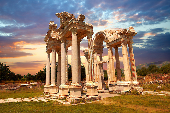 """Picture of the double Tetrapylon Gate, Aphrodisias, Turkey. A tetrapylon (Greek: Τετράπυλον, """"four gates"""") is an ancient type of Roman monument of cubic shape, with a gate on each of the four sides: generally it was built on a crossroads. stock photos & photo art prints. 10"""