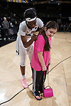 Ona Udoh (44) of the Wake Forest Demon Deacons autographs a fans t-shirt following the game against the Virginia Cavaliers at the LJVM Coliseum on February 25, 2018 in Winston-Salem, North Carolina. The Cavaliers defeated the Demon Deacons 48-41.  (Brian Westerholt/Sports On Film)