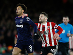 Felipe Anderson of West Ham United and Oliver Norwood of Sheffield Utdduring the Premier League match at Bramall Lane, Sheffield. Picture date: 10th January 2020. Picture credit should read: Simon Bellis/Sportimage