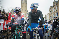 former teammates Johnny Hoogerland (NLD/AndroniGiocattoli-Venezuela) & Bjorn Leukemans (BEL/Wanty-GroupeGobert) catch up at the start line<br /> <br /> Dwars Door Vlaanderen 2014