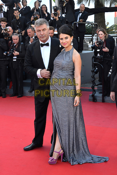 Alec Baldwin, Hilaria Thomas.'Blood Ties' premiere at the 66th  Cannes Film Festival, France..20th May 2013.full length black tuxedo grey gray dress married husband wife pregnant purple pink shoes .CAP/PL.©Phil Loftus/Capital Pictures.