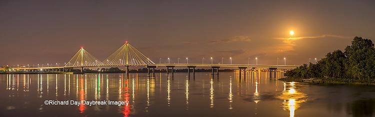 63895-15513 Clark Bridge over Mississippi River at night and full moon Alton, IL