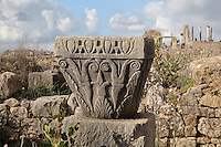 Stone capital carved with stylised vegetal motifs from the South East quarter of Volubilis, Northern Morocco. Volubilis was founded in the 3rd century BC by the Phoenicians and was a Roman settlement from the 1st century AD. Volubilis was a thriving Roman olive growing town until 280 AD and was settled until the 11th century. The buildings were largely destroyed by an earthquake in the 18th century and have since been excavated and partly restored. Volubilis was listed as a UNESCO World Heritage Site in 1997. Picture by Manuel Cohen