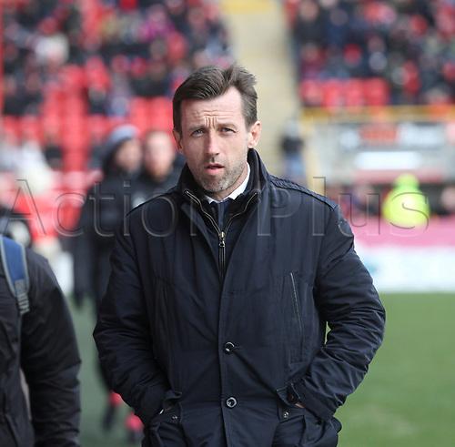 17th March 2018, Pittodrie Stadium, Aberdeen, Scotland; Scottish Premier League football, Aberdeen versus Dundee; Dundee manager Neil McCann