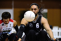 Hayden Barton-Cootes in action during the 2017 International Wheelchair Rugby Federation Asia-Oceania Zone Championships tournament match between the New Zealand Wheel Blacks and Japan at ASB Stadium in Auckland, New Zealand on Thursday, 31 August 2017. Photo: Dave Lintott / lintottphoto.co.nz