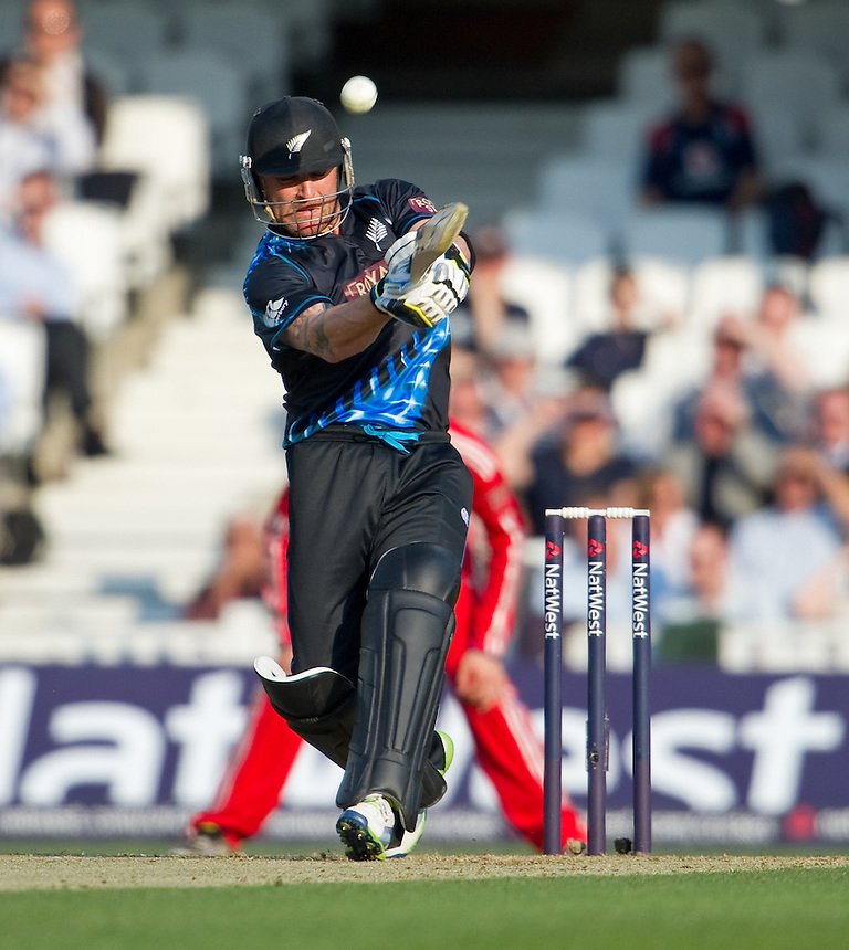 New Zealand's Brendon McCullum scoring 68 in the first T20 against England<br /> <br />  (Photo by Ashley Western/CameraSport) <br /> <br /> International Cricket - NatWest International T20 Series - England v New  Zealand - Tuesday 25th June 2013 - The Kia Oval, London <br /> <br />  &copy; CameraSport - 43 Linden Ave. Countesthorpe. Leicester. England. LE8 5PG - Tel: +44 (0) 116 277 4147 - admin@camerasport.com - www.camerasport.com