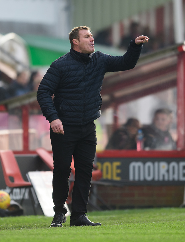 Mansfield Town manager David Flitcroft shouts instructions to his team from the technical area<br /> <br /> Photographer Chris Vaughan/CameraSport<br /> <br /> The EFL Sky Bet League Two - Lincoln City v Mansfield Town - Saturday 24th November 2018 - Sincil Bank - Lincoln<br /> <br /> World Copyright © 2018 CameraSport. All rights reserved. 43 Linden Ave. Countesthorpe. Leicester. England. LE8 5PG - Tel: +44 (0) 116 277 4147 - admin@camerasport.com - www.camerasport.com