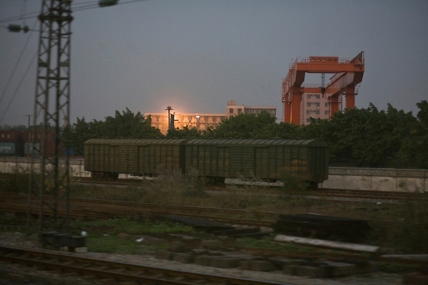 Railway in the suburb of Guangzhou (fr: Canton) . Seen in a train to Beijing.