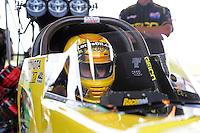 Jun. 17, 2011; Bristol, TN, USA: NHRA top fuel driver Morgan Lucas during qualifying for the Thunder Valley Nationals at Bristol Dragway. Mandatory Credit: Mark J. Rebilas-
