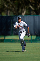 Detroit Tigers right fielder Reynaldo Rivera (35) runs in to field a ball during an Instructional League game against the Atlanta Braves on October 10, 2017 at the ESPN Wide World of Sports Complex in Orlando, Florida.  (Mike Janes/Four Seam Images)