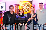 Pictured at the Ring Lyne Bar Darts Tournament in aid of the Valentia Community Hospital on the 31st January were l-r; Tommy Gilligan(Sponsor),(Ladies Singles Winners) Noreen Fogarty, Orla O'Shea & Brendan O'Sullivan.  The winners of the men's were 1st Frank Connell & runner-up Richard Quigley.