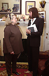 "Anjelica Huston dedicates a cultural medallion at 9 East 10th St in NYC. Here she speaks with Barbaralee Diamonstein, a member of the New York Landmarks Preservation Foundation. The medallion, a program of  Historic Landmarks Preservation Center,  memorializes author Dawn Powell, a house resident from 1934 to 1942. Huston is writing a screenplay from Powell's ""A Time to Be Born."""