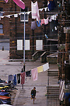 """Barrow in Furness Cumbria  Laundry day clothes hanging out to dry. """"Ship Street"""" Barrow in Furness Cumbria UK  1980s"""